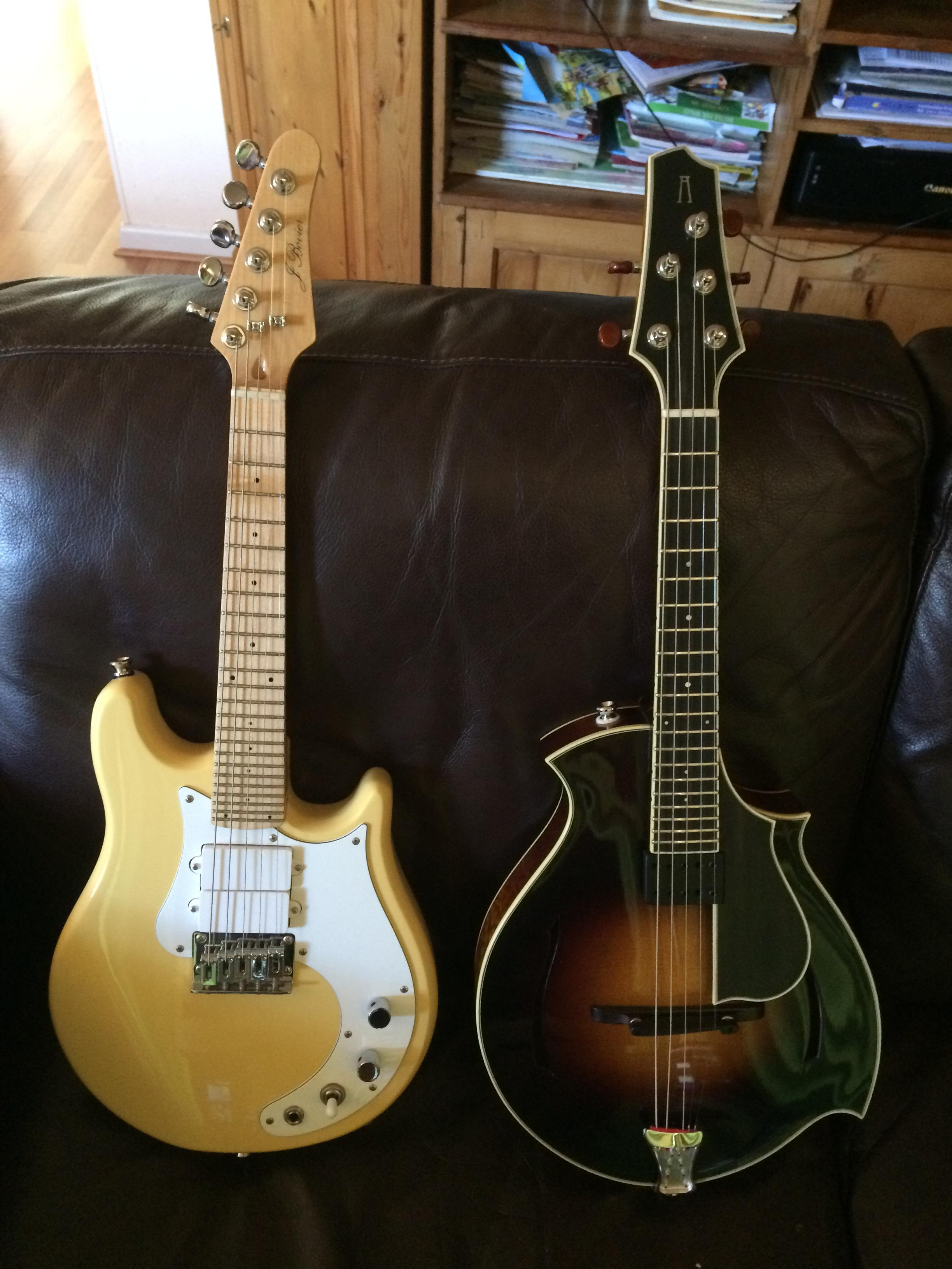 JBovier and Arrow 5 string mandolins
