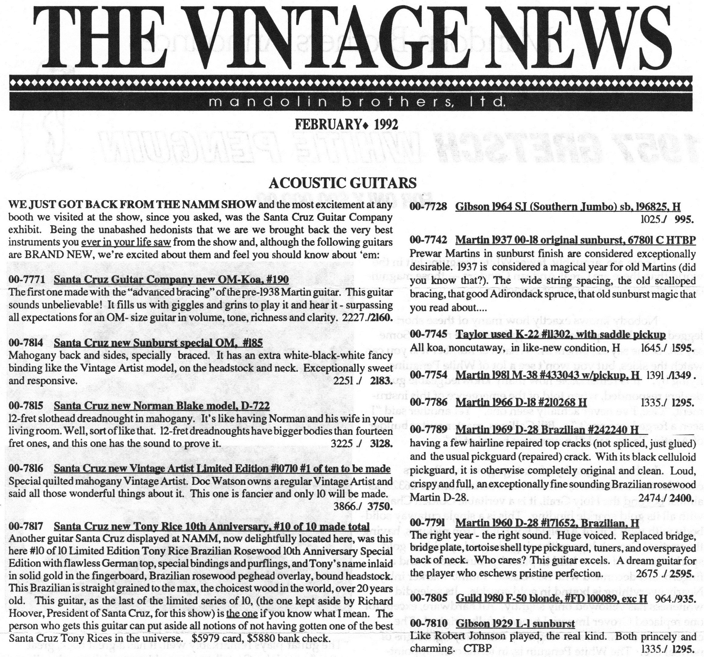 Vintage News - Feb. 1992